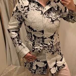 mossimo trench coat jacket black and white floral